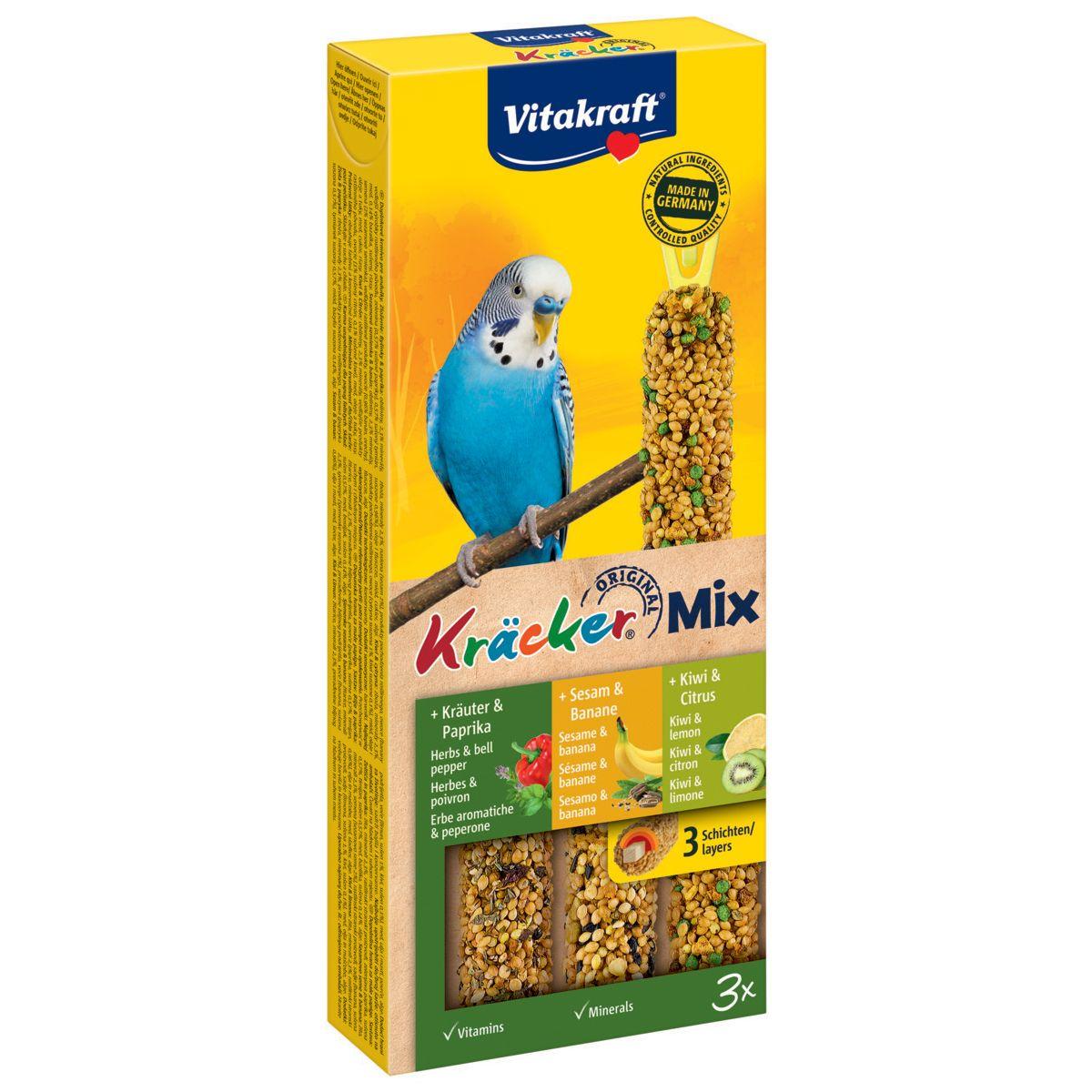 Лакомство для птиц VITAKRAFT Крекеры для волнистых попугаев ананас, банан, киви (3шт.уп) лакомство для птиц vitakraft крекеры для средних попугаев при линьке 21294 180 г