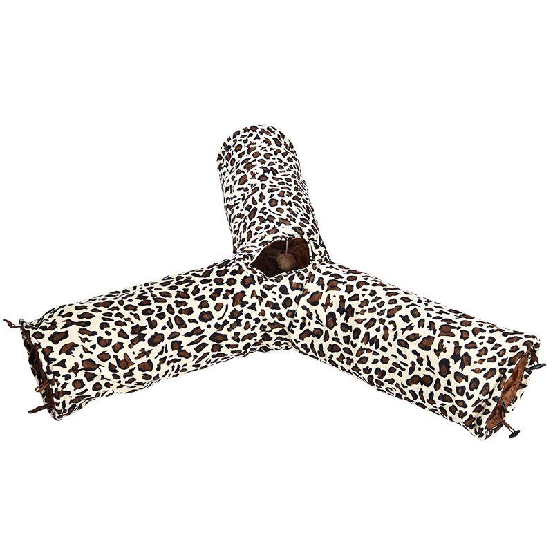 Тоннель для кошек Foxie трехрукавный с леопардовым принтом 25х55см
