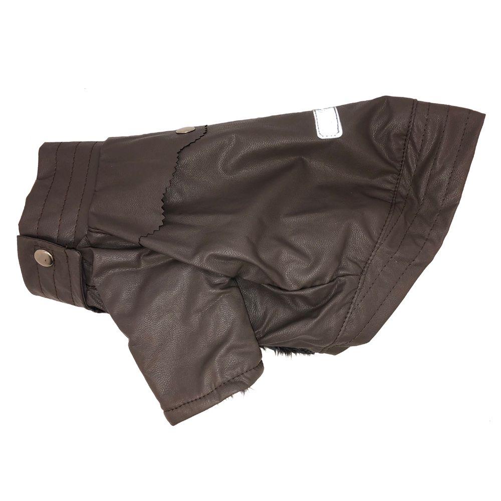 купить Куртка для собак ДОГ МАСТЕР кожаная на вельбоа L серая 28 см дешево