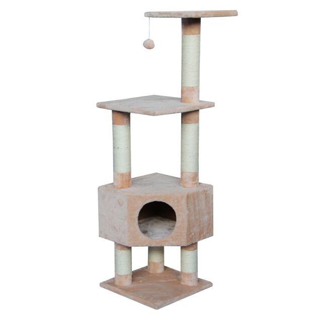 цена Дом-когтеточка для кошек Foxie с игрушкой угловой 40х40х135см бежевый онлайн в 2017 году
