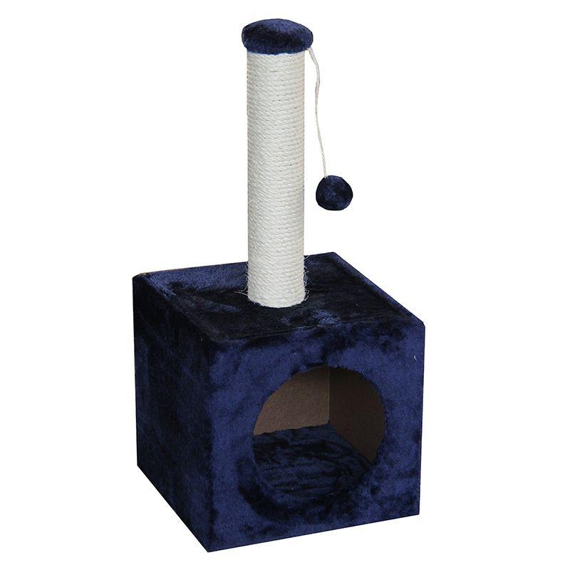 Когтеточка для котят Foxie Домик с игрушкой 31х31х67см синий домик когтеточка майя кремовый джут 50х50х100