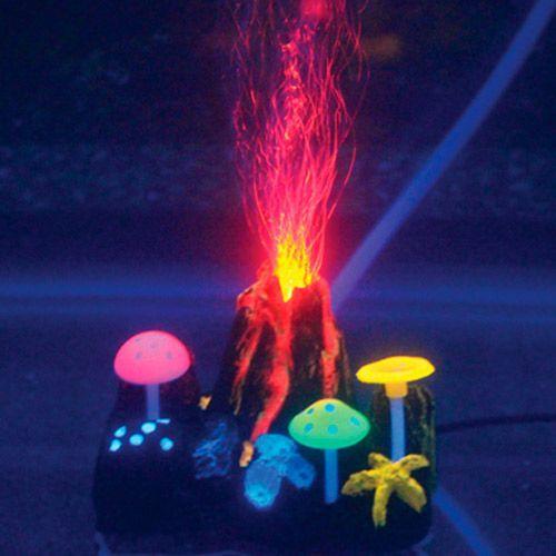 Декор для аквариумов JELLYFISH Вулкан подводный с неоновым эффектом 9х7х6,5см декор для аквариумов jellyfish листья лотоса голубые силиконовые 4шт 7х3 5х10см