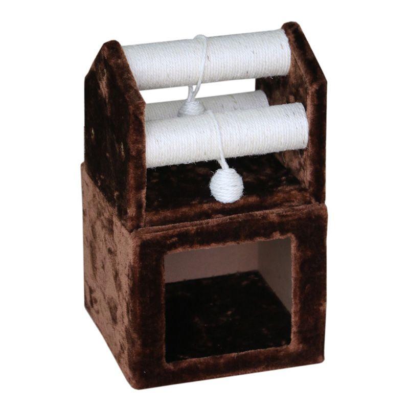 Когтеточка для кошек Foxie Домик с перекладинами из сизаля и игрушками 30х30х51см коричневый когтеточка для кошек foxie домик башня 40х40х100см