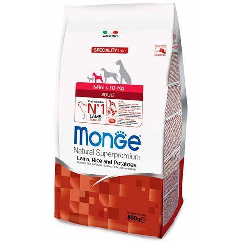 Корм для собак Monge Dog Speciality Mini для мелких пород ягненок с рисом и картофелем сух. 800г все цены