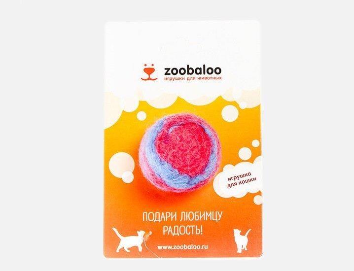Игрушка для кошек ЗООБАЛУ Шерстяной мяч Фьюжн красно-синий 4см