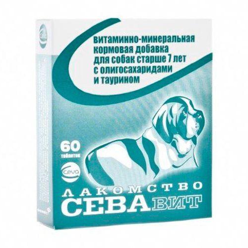 Кормовая добавка для собак CEVA Севавит старше 7лет, витаминно-минеральная с олигосахаридами и таурином 60таб.