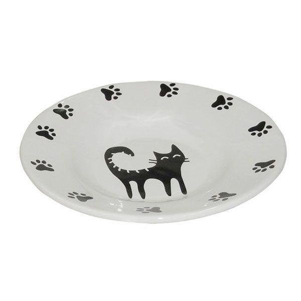 Миска для животных Foxie Cat Plate белая керамическая 15,5х3см 140мл
