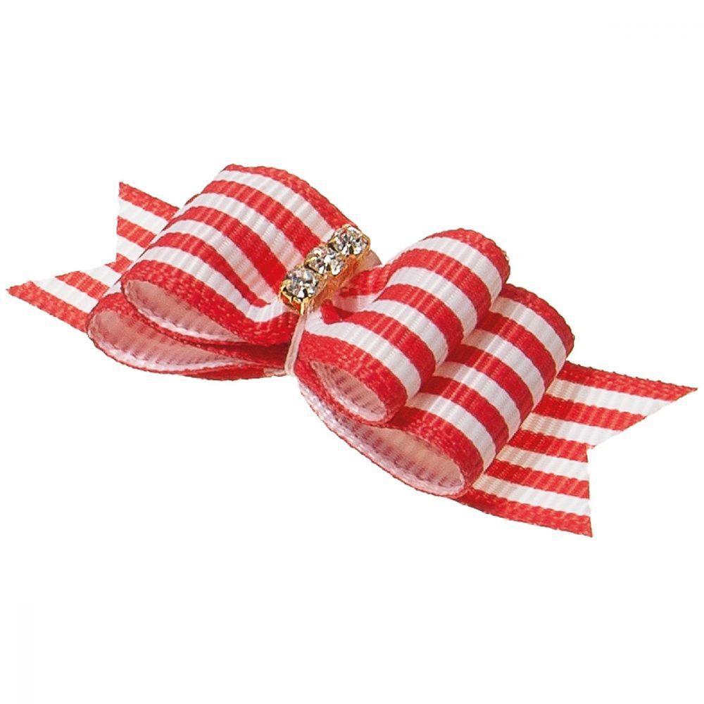 Бантик V.I.PET Ностальжи (пара) красный в полоску, тройной объёмный 4,5х1,5см