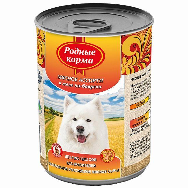 Корм для собак РОДНЫЕ КОРМА Елец Мясное ассорти в желе по боярски конс. 970г