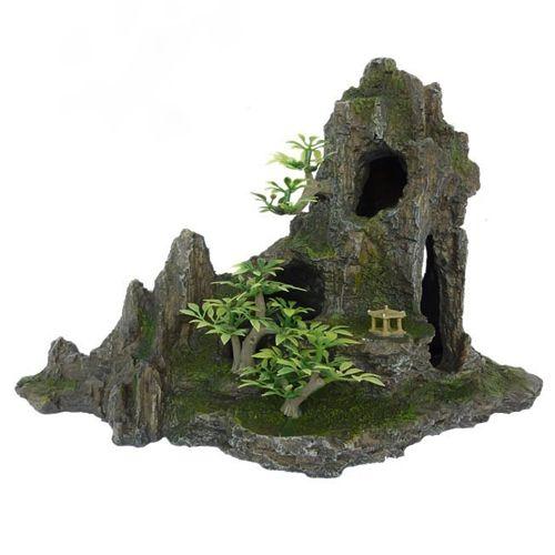 Грот для аквариума МЕЙДЖИНГ АКВАРИУМ Скала с пещерой и деревьями