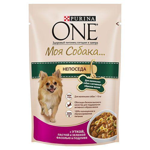 Корм для собак PURINA ONE Моя Собака утка, фасоль, конс. пауч 100г цена