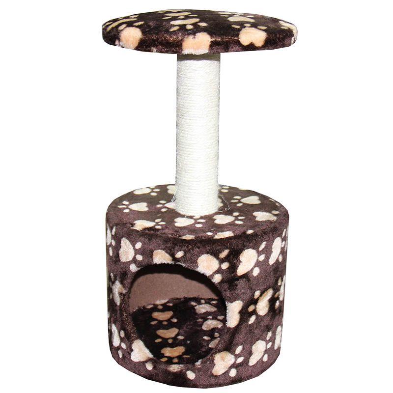 Когтеточка для кошек MAJOR Домик Лапы 30х30х57см коричневый домик когтеточка майя кремовый джут 50х50х100