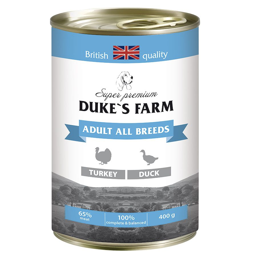 Корм для собак DUKE'S FARM индейка, утка, рис, шпинат конс. 400г шпинат для рыбок