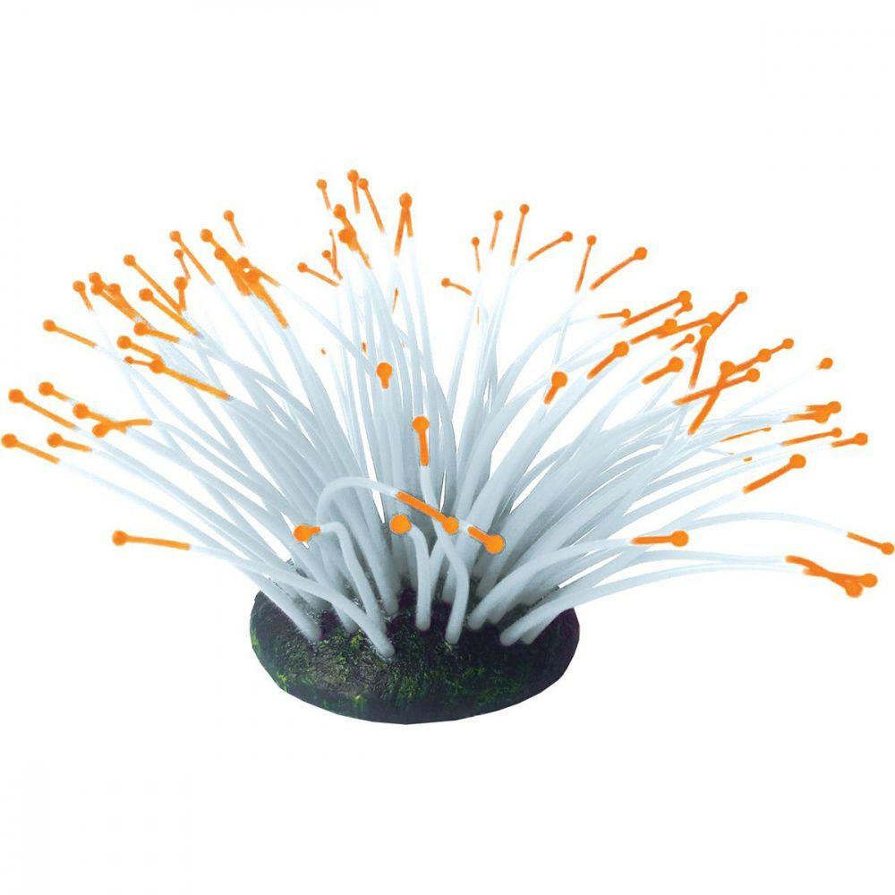 Декор для аквариумов JELLYFISH Коралл Актиния светящийся оранжевый 9,5х8,5х9см