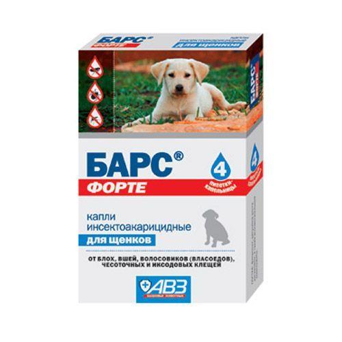 Капли для щенков АВЗ БАРС Форте инсектоакарицидные от внеш. паразитов 4 пипетки