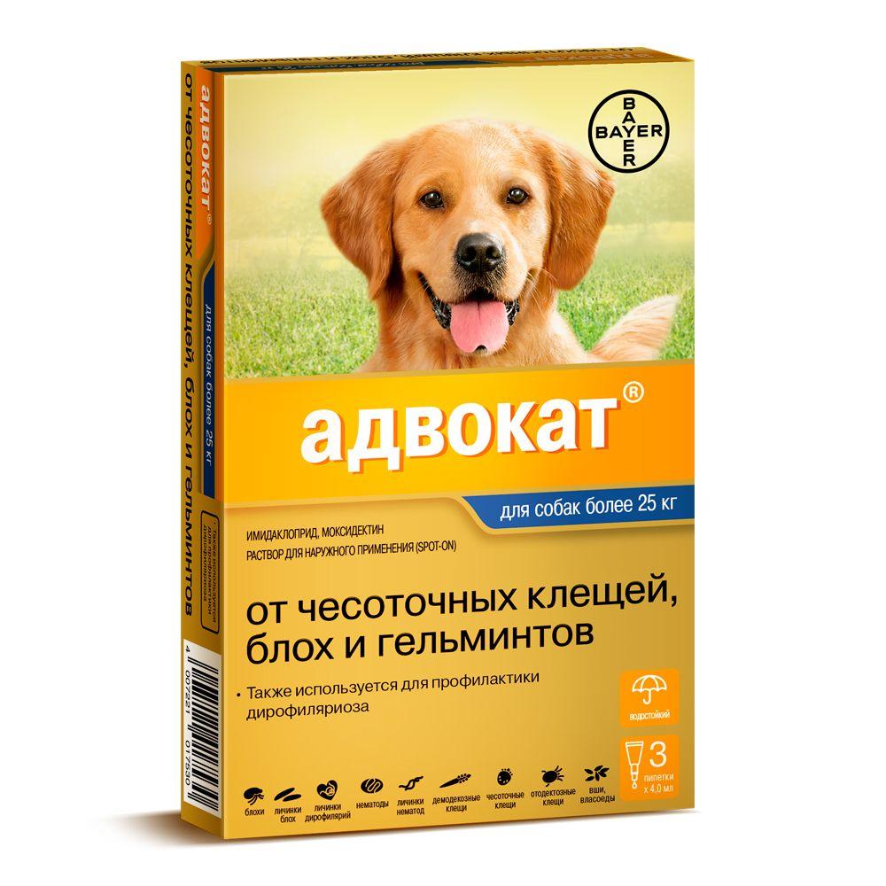 Капли для собак BAYER ADVOCATE 400 от паразитов (25-40кг веса) 3 пипетки капли для собак inspector от 25 до 40кг от внешних и внутренних паразитов 1 пипетка