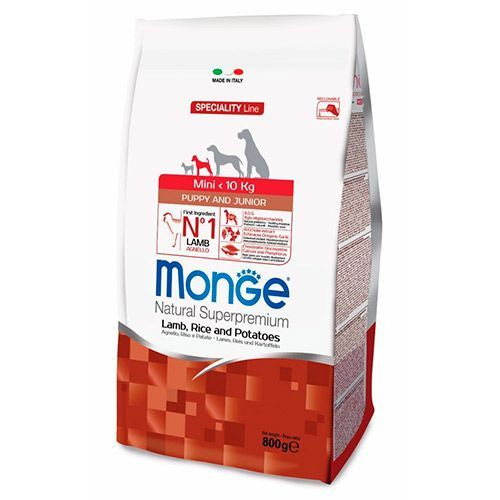 цена на Корм для щенков Monge Dog Speciality Mini для мелких пород ягненок с рисом и картофелем сух. 800г