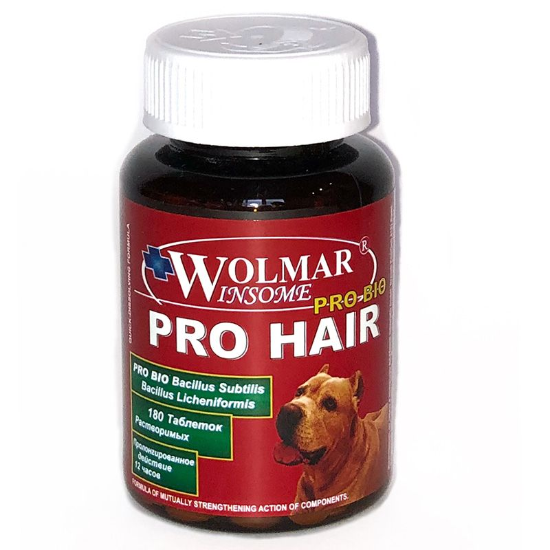 Витамины для щенков и собак WOLMAR Bio Pro Hair для кожи и шерсти 180таб