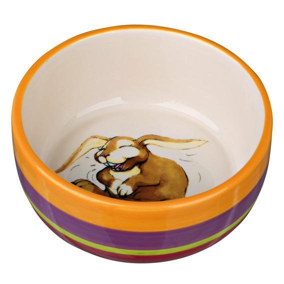 Миска для кроликов TRIXIE керамическая, разноцветная/кремовая 11см 250мл trixie миска trixie для кошек двойная пластмассовая 2х0 2 л ø11 см