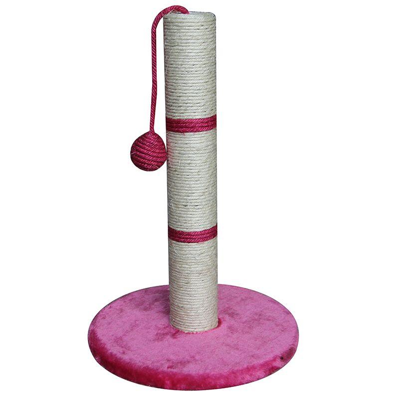 цена Когтеточка для кошек Foxie Столбик с игрушкой 30x30x50см розовый онлайн в 2017 году