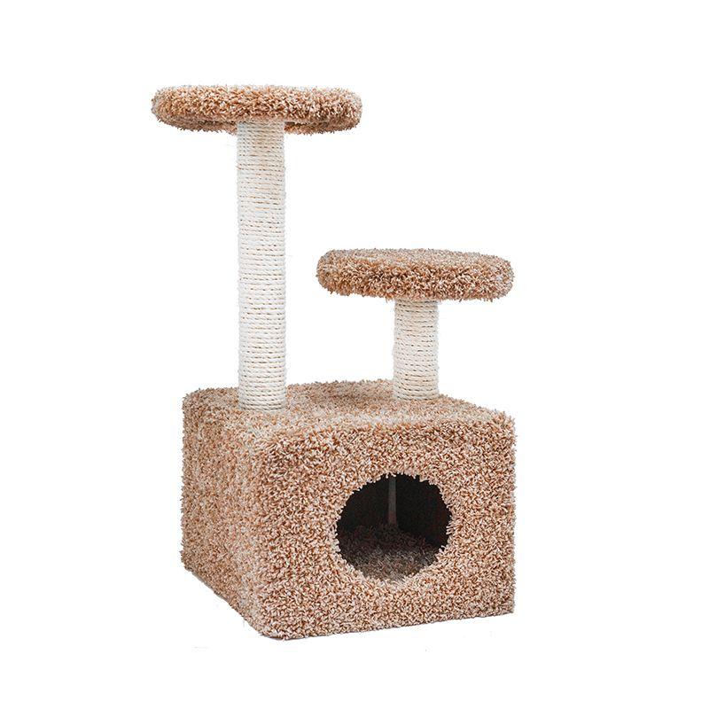 Когтеточка для кошек Foxie Домик с двумя площадками 37х58х76см бежевый ковролиновый