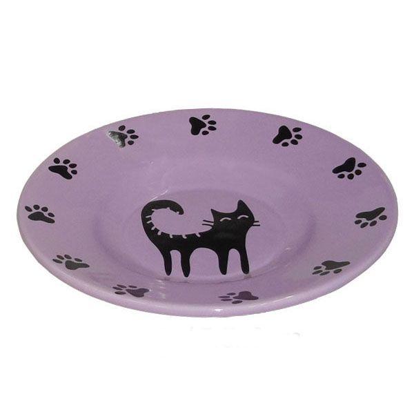 Миска для животных Foxie Cat Plate фиолетовая керамическая 15,5х3см 140мл недорого