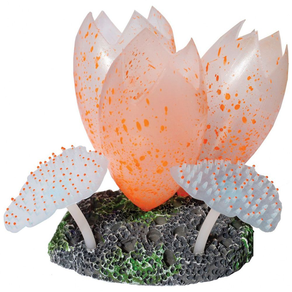 Декор для аквариумов JELLYFISH Лотос с Актинией светящийся оранжевый 8х7х9,5см