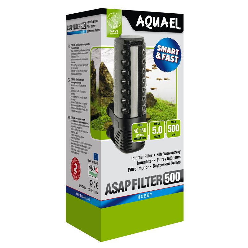 Внутренний фильтр AQUAEL ASAP FILTER 500 для аквариума 50 - 150 л (500 л/ч, 5 Вт) недорого