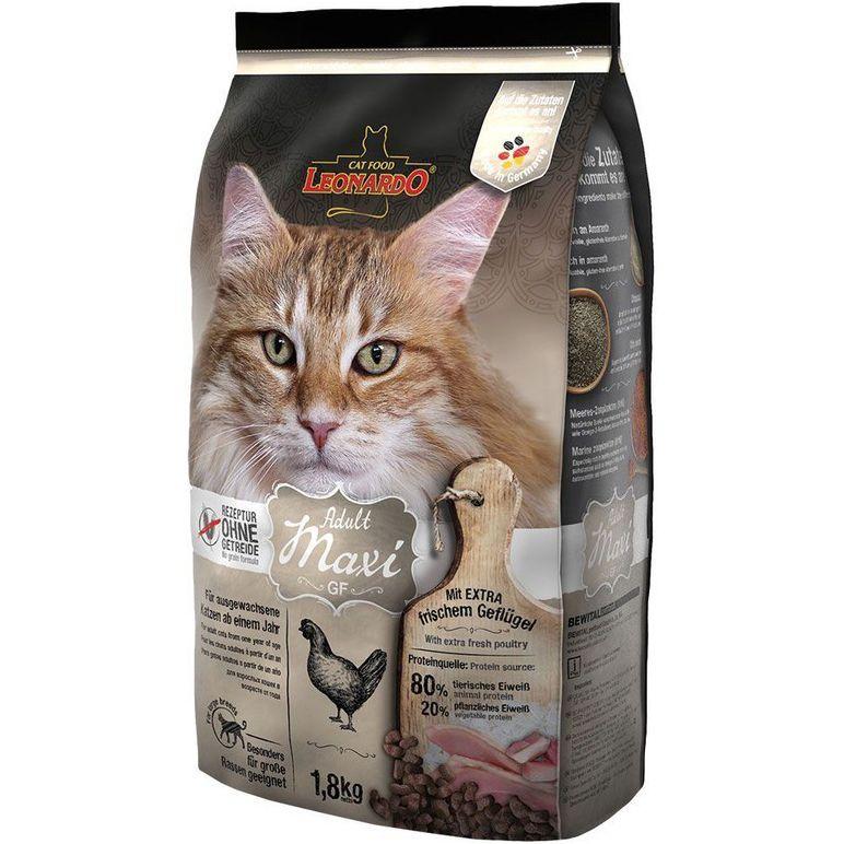 Корм для кошек Leonardo Maxi GF крупных пород, беззерновой, курица сух. 1,8кг