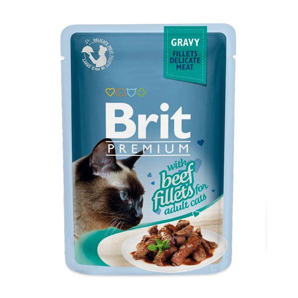 Корм для кошек Brit Premium Cat Gravy Кусочки из филе говядины в соусе пауч 85г
