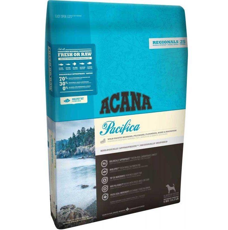 Корм для собак и щенков ACANA Pacifica для всех пород, сельдь,сардина, камбала, треска, хек сух. 6кг корм для собак и щенков acana grass fed lamb для всех пород ягненок яблоко сух 6кг