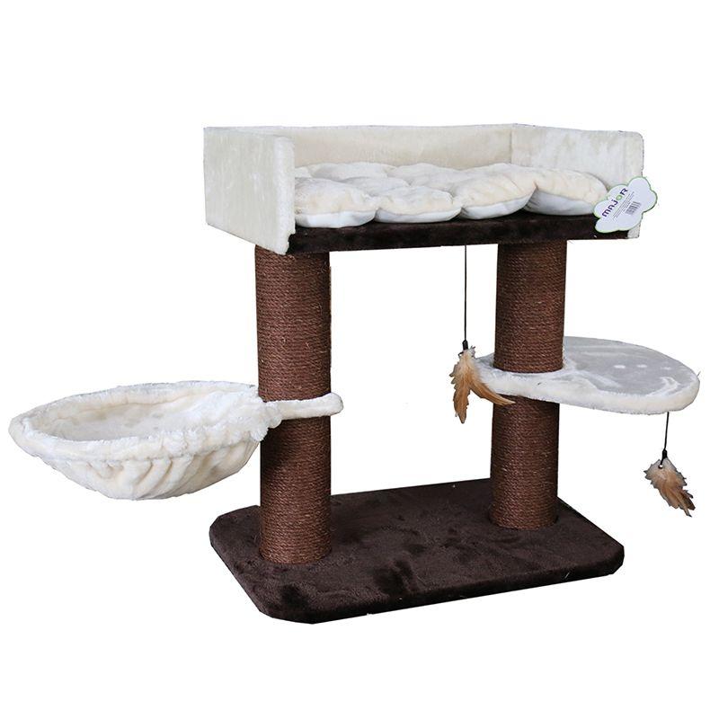 Когтеточка для кошек Foxie с лежанками и игрушками из перьев 65x50x71см коричнево-белый пурпурный тиклер из пушистых перьев