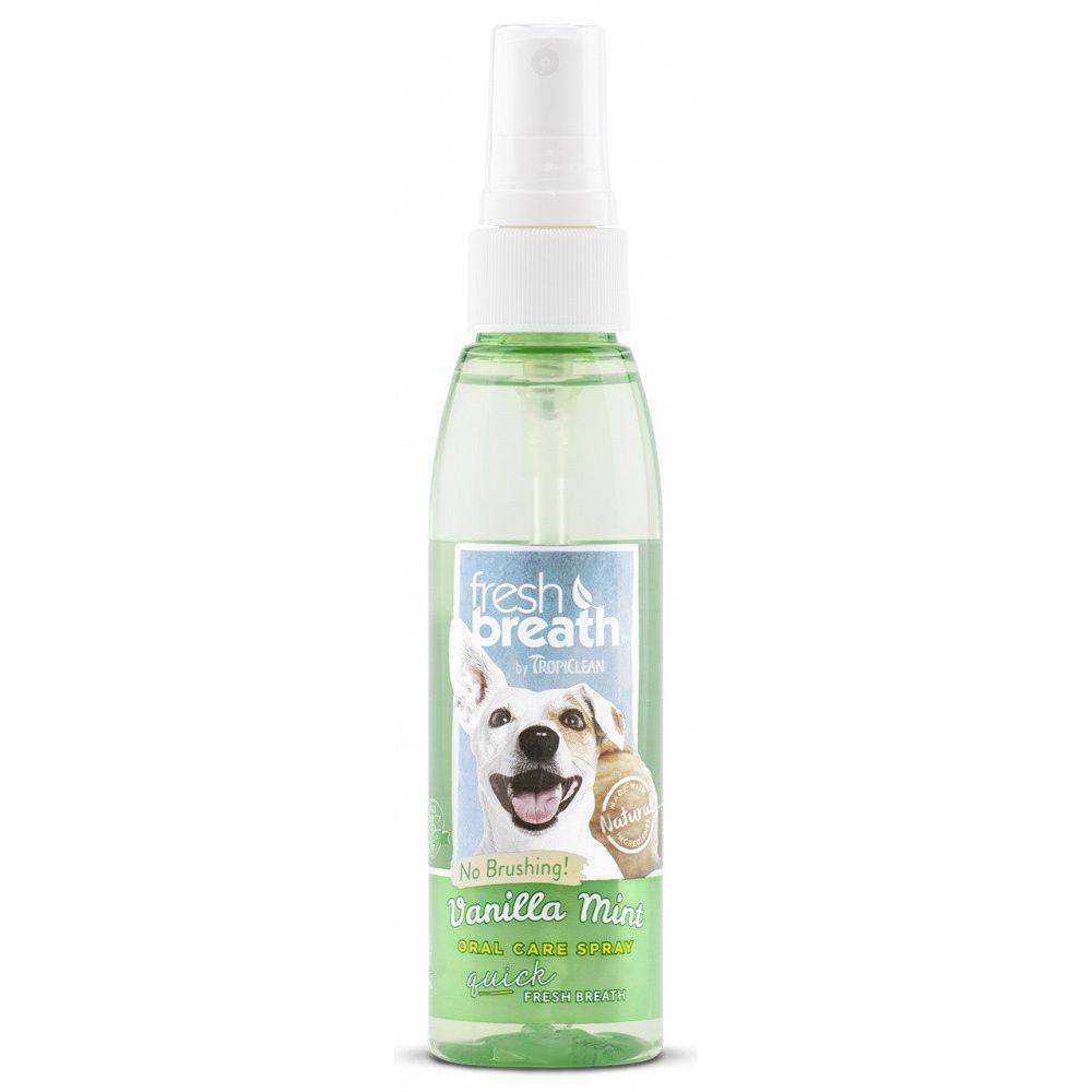 Спрей для собак TROPICLEAN Свежее дыхание ваниль и мята, 118мл tropiclean fresh breath gel vanilla mint гель для собак для чистки зубов ваниль и мята 59 мл