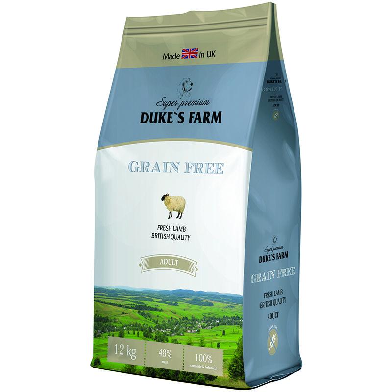 цена на Корм для собак DUKE'S FARM беззерновой, ягненок сух. 12кг