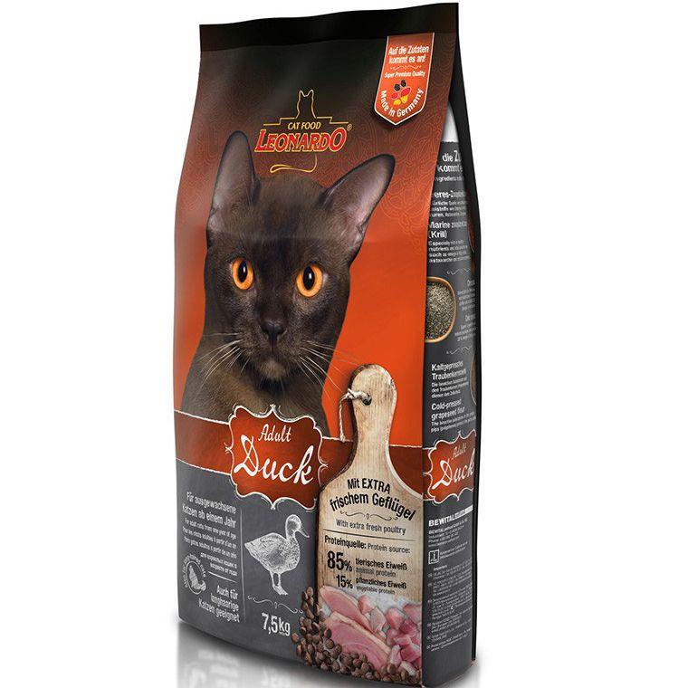 Корм для кошек Leonardo для облегчения вывода шерсти из желудка, утка с рисом сух. 7,5кг корм для кошек royal canin intense hairball 34 для вывода шерсти из желудка сух 400г