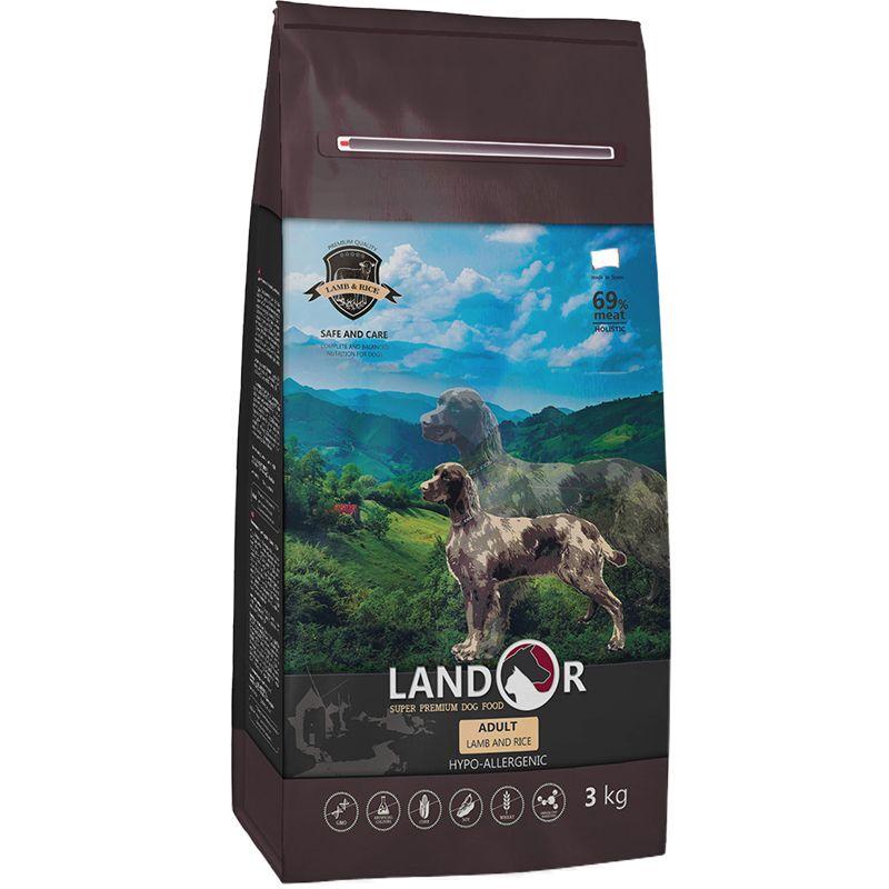 Корм для собак LANDOR ягненок с рисом сух. 3кг корм для собак brit care medium breed для средних пород ягненок с рисом сух 3кг